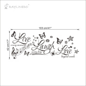 Raylinedo® Live Love Laugh with Butterfly Removable Wall Stickers Window Sticker Art Decals Mural DIY Wallpaper for Room Decal 103cm*42CM