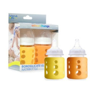 Cherub Baby Colour Change - Pack of 2 Wide Mouth Bottles 150 ml Amarillo y naranja