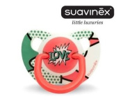 "SUAVINEX ""BABY ARTY"" Nr. 302901 - 1x Pacifier Soother Dummy Anatomical Silicone Teat/ RED"
