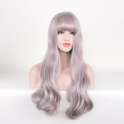 Royalvirgin Silver Grey Wig with Bangs Long Wave Curly Cosplay Wigs Costume Party Wigs for Women Synthetic Perruque Kanekalon Fibre
