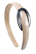 Cerchietti for Hair - Domed Headband 1.5 cm with buckle and lacquered coating Paint Laminated beige