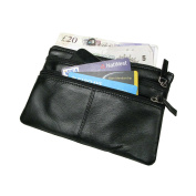 Black Genuine Soft Small Real Leather Bag Pouch for Money Phone Cards 3 Compartments