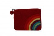 Felt Red With Rainbow printed Coin Purse Accessories Gift- SW-FELT(PRS-RED)2