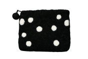 Felt Black With White Polka Dots Coin Purse Accessories Gift- SW-FELT(PRS-BLK)1