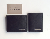 Real Madrid -Premium Genuine Leather- Mens Wallet & Credit Card Holder - 2 pieces. In Black RMJ-80022