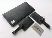 Real Madrid -Premium Genuine Leather- Travel Wallet Cover Case & luggage tags (2 packs) for Men & Wome -. In Black RMJ-80014