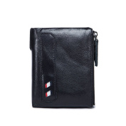 Genda 2Archer Men Bi-fold Leather Wallet with Zipped Coin Pouch