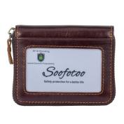 Soofotoo Genuine Leather RFID Card Wallets Credit Card Holder Zipper Wallet