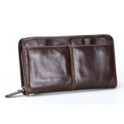 Gendi Zipper Men Wallets with Multi Card Holder Genuine Leather Man Clutch Wallets Functional Long Male Wallet