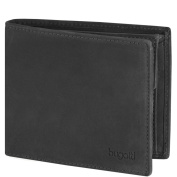 bugatti Gents Wallet Men Purse Landscape Leather 125cm Zipper Folding Compartment schwarz