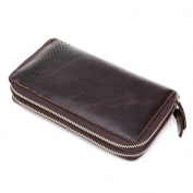 Gendi Double Zipper Genuine Leather Men's Clutch Wallet Vintage Long Purse for Male Leather Clutch Bag for Business Man