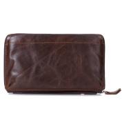 Gendi Business Men Wallet Vintage Brown Cowhide Men Clutch Bag 100% Genuine Leather Clutch Hand Bag Double Zipper Purse for Male