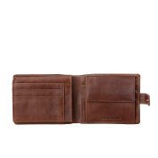 Nuvola Pelle Wallet for men in Genuine Leather with Snap Button Secure Closure Coin & Card Holders and Zip Pocket Brown