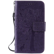 C-Super Mall-UK Samsung Galaxy Core LTE 4G SM-G386F/ Avant G386T Case, Embossed Tree Cat Butterfly Pattern PU Leather Wallet Stand Flip Case for Samsung Galaxy Core LTE 4G SM-G386F/ Avant G386T