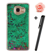 Samsung Galaxy A7(2016 Version) Liquid Case,Galaxy A7 A710 Glitter Bling Cover,TOYYM Flowing Liquid Back Shell Cover Floating Water Protective Hard Crystal Case,Creative 3D Design with Sparkle Shinny Stars Luxury Case Cover for Samsung Galaxy A710,Green#1