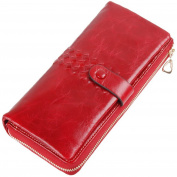 Vectri Women Wallet Leather Button Purse Lady Long Women's Handbag