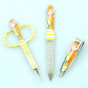 Bid Buy Direct® Girl's Manicure Set | 3Pc Nail Grooming Kit | Beautiful Printed Designs Includes Scissors, Nail Filer, Nail Clipper