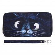 Fashionable Wallet for Men Woman Cash Holder Zippered Card Purse Meow Kitty [050]