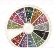 ATNails Nail Art Rhinestones Acrylic Studs Gems Coloured and Silver