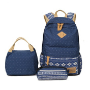 Inwagui 3PCS Set School Backpack Canvas Rucksack Casual Laptop Backpack + Lunch Bag + Pencil Case - Dark Blue