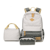 Inwagui 3PCS Set School Backpack Canvas Rucksack Casual Laptop Backpack + Lunch Bag + Pencil Case - Grey