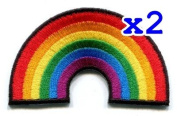 Pack of 2 Gay pride lesbian rainbow flag retro love LGBT Appliques Hat Cap Polo Backpack Clothing Jacket Shirt DIY Embroidered Iron On / Sew On Patch