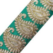Green Base Fabric Trim Paisley Style Acrylic Thread Sewing Lace Saris Border By The Yard