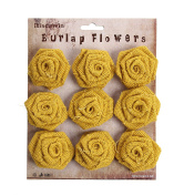 RiscaWin Burlap Rosette Embellishments for Weddings, Hair Accessories, Scrapbooking or Crafts - 9 roses per pack