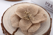 Handmade Burlap Flowers with Lace Craft YW (Pack of 12)