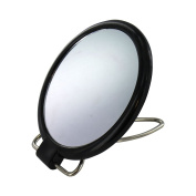 2 Sided 10cm Dia Compact Mirror on Stand Black