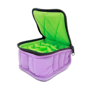 """Plant Therapy Soft Essential Oils Carrying Case. 16-bottle 5ml, 10ml and 15ml - 7.6cm x 13cm x 5"""" - Lavender/Aqua Green"""