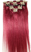 6 Pieces Burgundy Remy Human Hair Clip in Extensions Clipin 80 Grammes 50cm Long