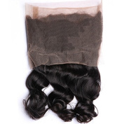 Loose Wave 360 Round Lace Frontal Indian Virgin Human Hair 46cm Medium Brown Net Bleach Knots 105g