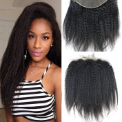 Dreambeauty 13×10cm Full Lace Frontal Closure Kinky Straight Ear to Ear Free Part Unprocessed Brazilian Virgin Human Hair Extensions With Baby Hair Bleached Knots Natural Colour