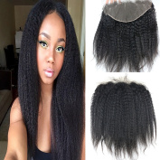 Dreambeauty 13×15cm Full Lace Frontal Closure Kinky Straight Ear to Ear Free Part Unprocessed Brazilian Virgin Human Hair Extensions With Baby Hair Bleached Knots Natural Colour