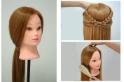 Professional 60cm Long 100% Synthetic Hair Hairdressing Equipment Styling Head Doll Mannequin Training Head Tools Braiding Cutting Student Practise Model with Clamp