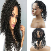 Dreambeauty 360 Lace Band Frontal Closure Curly 360 Full Lace Frontal with Adjustable Straps Remy Brazilian Human Hair with Baby Hair Natural Hairline Natural Colour for Black Women