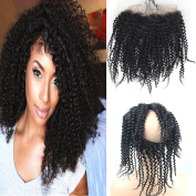 Dreambeauty 360 Full Lace Frontal Closure Small Curly 360 Lace Band Frontal with Adjustable Straps Brazilian Human Hair with Baby Hair Natural Hairline Natural Colour