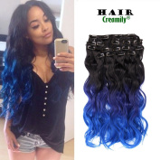 Creamily 46cm Long Curly Wavy Ombre Natural Black to Blue Clip in 8 Pieces Full Head Set Hair Extensions 8pcs Hairpiece Extension for Women