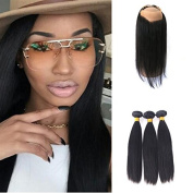 Pre Plucked 360 Lace Frontal Closure Peruvian Hair Lace Band Frontal With 3Bundles Straight