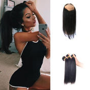 Top Qaulity Ear to Ear 360 Lace Frontal Band Closure With Virgin Brazilian Hair Straight 3Bundles