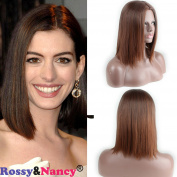 Rossy & Nancy Synthetic Short Straight Flapper Bob Heat Resistant Fibre Friendly Cosplay Party Costume Hair Wig Brown Colour Free Part for African American Women 25cm - 30cm