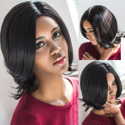AISI HAIR Jet Black Synthetic Short Hair Wigs Heat Resistant Fibre Short Wave Bob Wig Free Part + a free wig cap