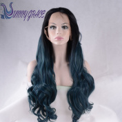 SunnyGraceLong Wavy Lace Front Synthetic Hair Black Root Green Ombre Cosplay Wig