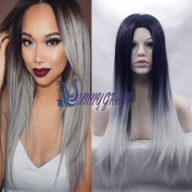 SunnyGraceLong Straight Hair Two Tone Black and Grey Ombre Wig Heat Resistant Fibre Synthetic Wigs Fedex Free