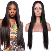 Sunwell 6A Brazilian Human Virgin Hair Silky Straight Glueless Lace Front Wigs with Baby Hair Natural Black 60cm