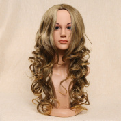 Secretgirl Wavy Blonde Wigs for Women Synthetic Long Curly Fashion Cosplay Costume Wig