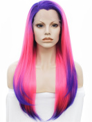 Ombre Wig Long Straight 60cm Silky Hair Synthetic Lace Front Wig Pink Mixed Blue