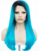 Ombre Hair Long Straight 60cm Silky Hair Synthetic Lace Front Wig Ombre Dark Blue