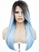60cm Black Mixed Blue High Density Heat Resistant Synthetic Lace Front Wig Long Straight Wig